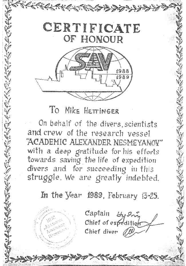 Mike was awarded a certificate of honour for saving two Soviet divers