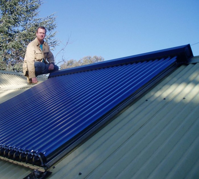 Solar hot water systems . Heating water represents the biggest single source of greenhouse gas emissions in an average Australian household (if you don't count the car).